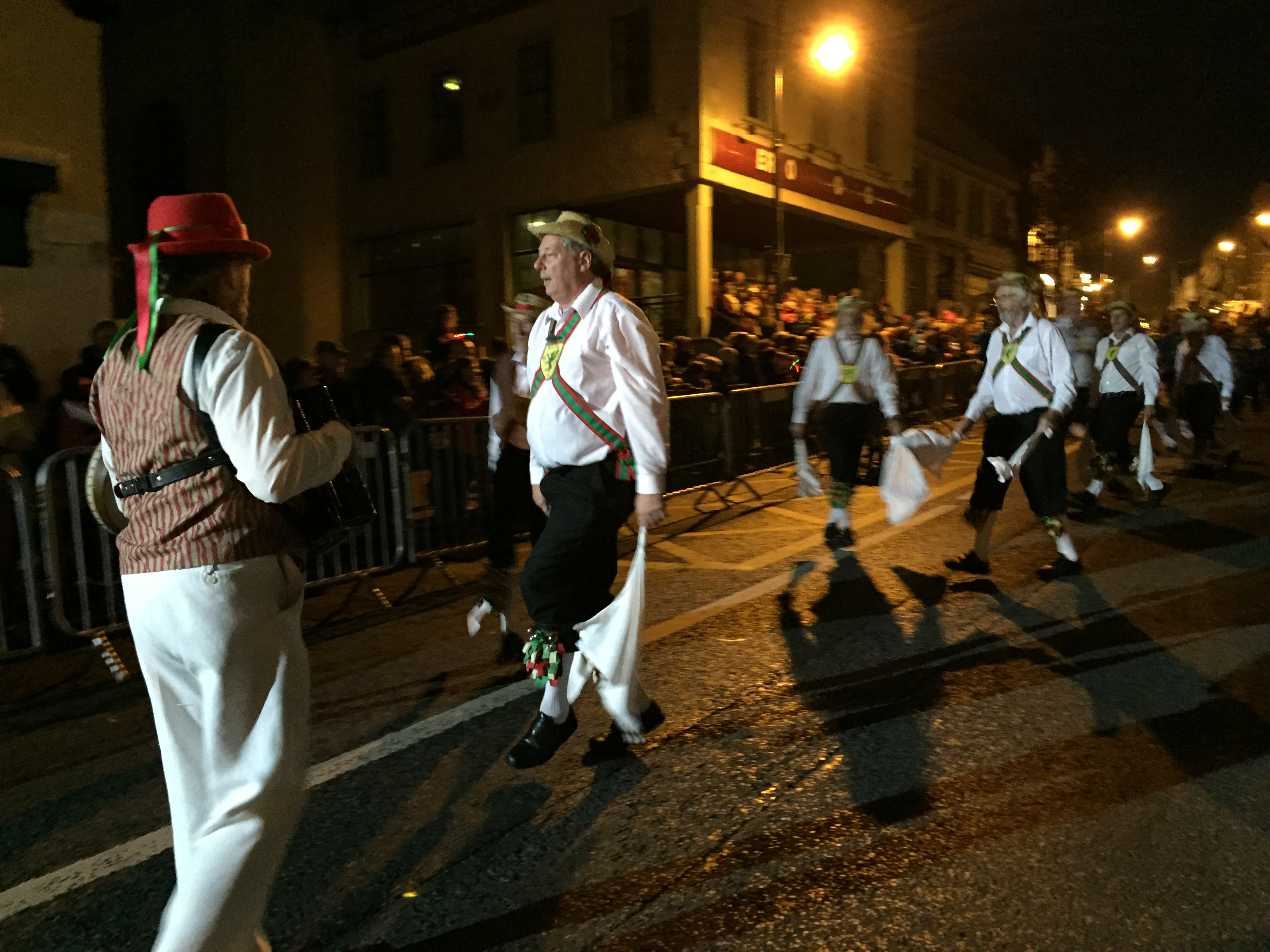 Wessex Morris Men at Bundoran, in the carnival procession, after dark.